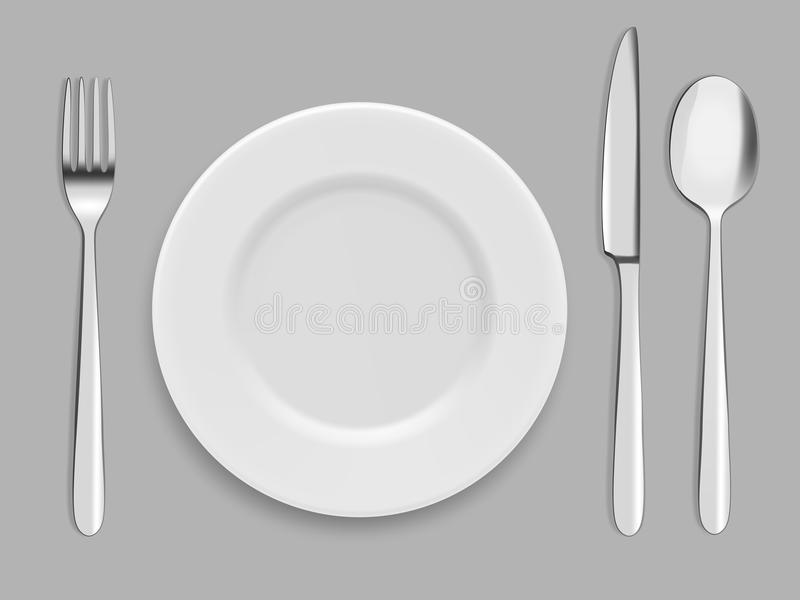 Πιάτα και μαχαιροπήρουνα Δίκρανο, κουτάλι και μαχαίρι διανυσματική απεικόνιση