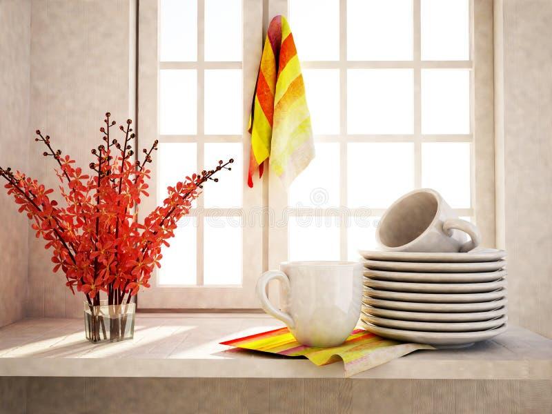 Πιάτα με τα φλυτζάνια στον πίνακα απεικόνιση αποθεμάτων