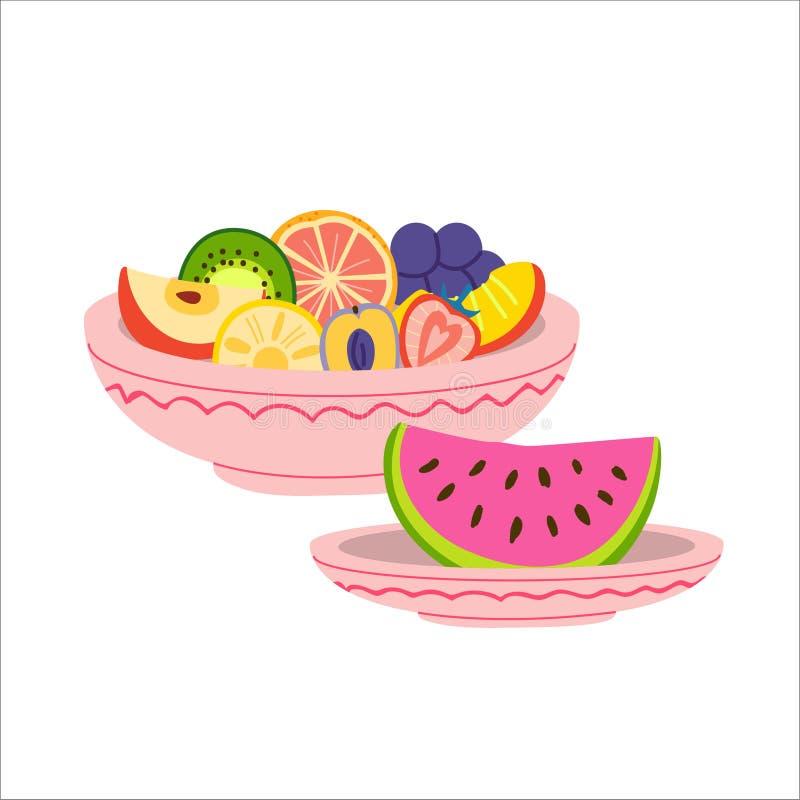 Πιάτα με τη διανυσματική απεικόνιση φρούτων απεικόνιση αποθεμάτων