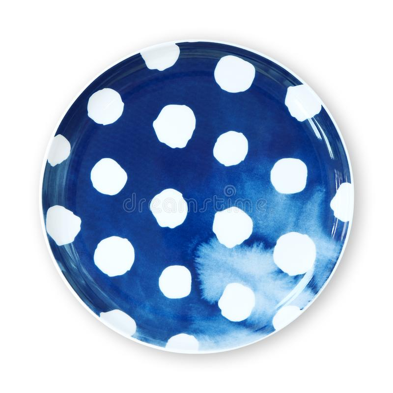 Πιάτα σημείων Πόλκα, πιάτο με το ύφος watercolor σχεδίων σημείων Πόλκα, άποψη που απομονώνεται άνωθεν στο άσπρο υπόβαθρο με το ψα στοκ φωτογραφίες