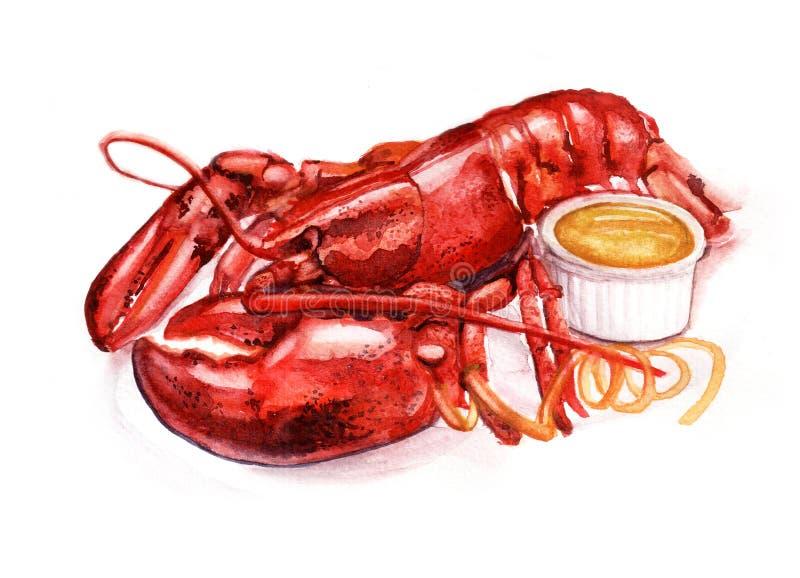 Πιάτο από το βρασμένο αστακό με τη σάλτσα μουστάρδας διανυσματική απεικόνιση