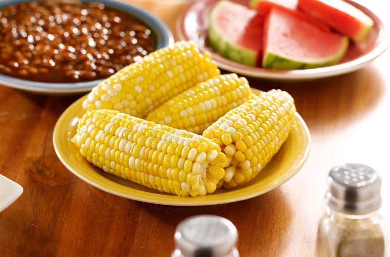 πιάτο γεύματος καλαμποκ στοκ εικόνες