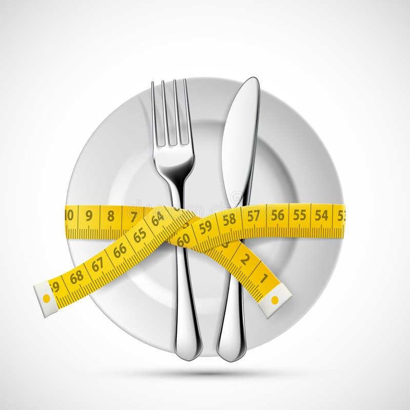 Πιάτο εικονιδίων με το μαχαίρι, το δίκρανο και την προσαρμογή μετρώντας την ταινία Να κάνει δίαιτα και υγιεινός τρόπος ζωής απεικόνιση αποθεμάτων