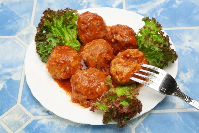 πιάτο κρέατος σφαιρών στοκ φωτογραφία