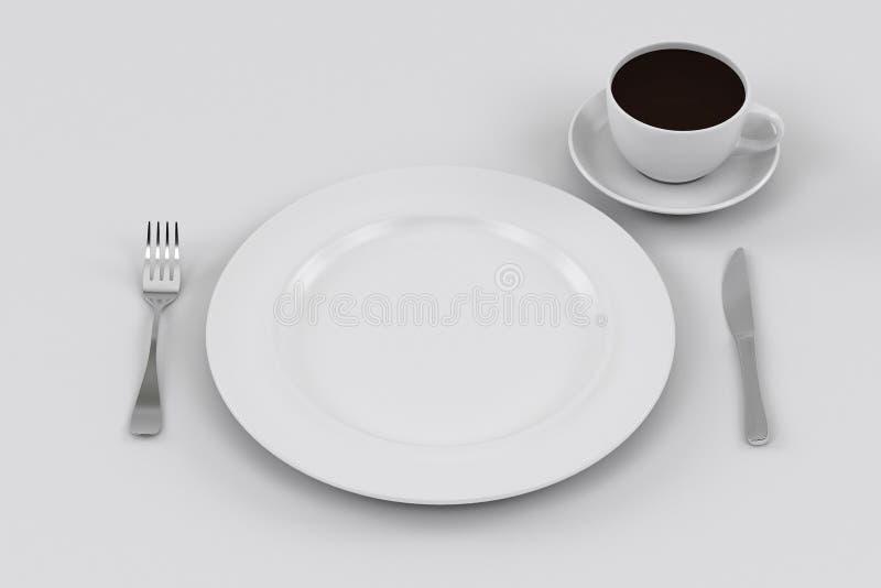 Πιάτο, μαχαίρι, και δίκρανο γευμάτων, φλυτζάνι καφέ στοκ φωτογραφίες
