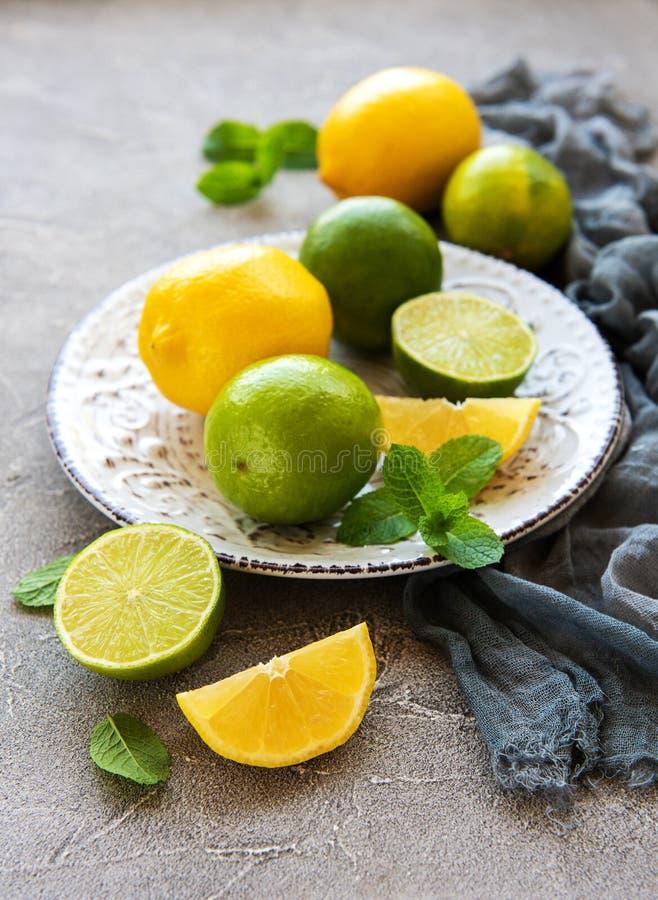Πιάτο με τα λεμόνια και τους ασβέστες στοκ εικόνα με δικαίωμα ελεύθερης χρήσης