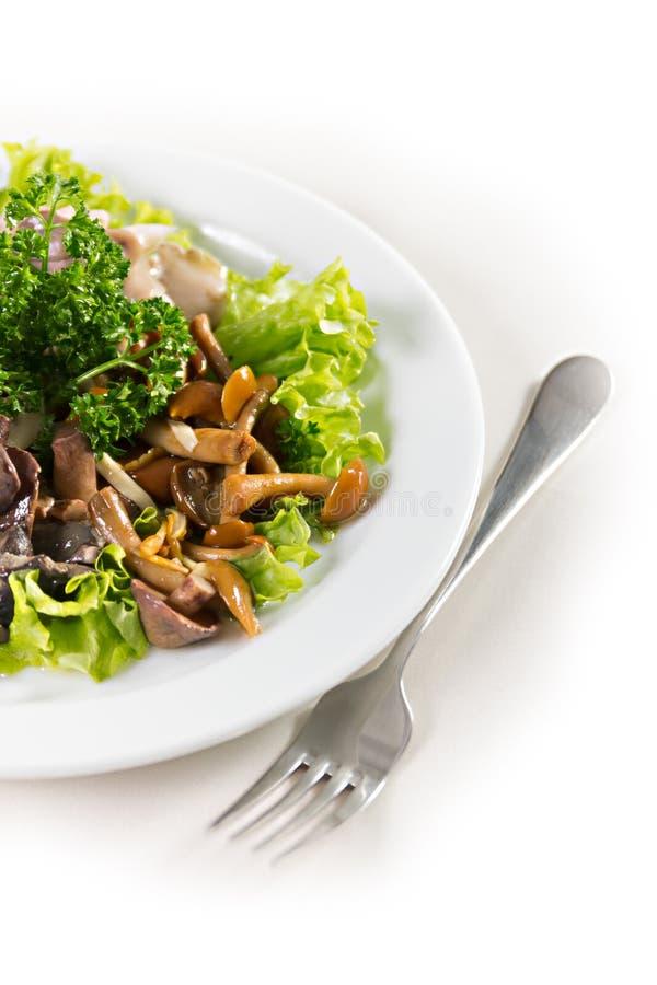 Πιάτο με τα πράσινα σαλάτας μανιταριών στοκ εικόνες