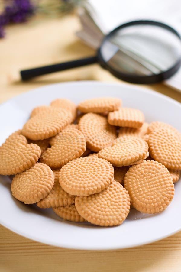 Πιάτο με τα τριζάτα μπισκότα δίπλα στο παράθυρο στοκ εικόνες