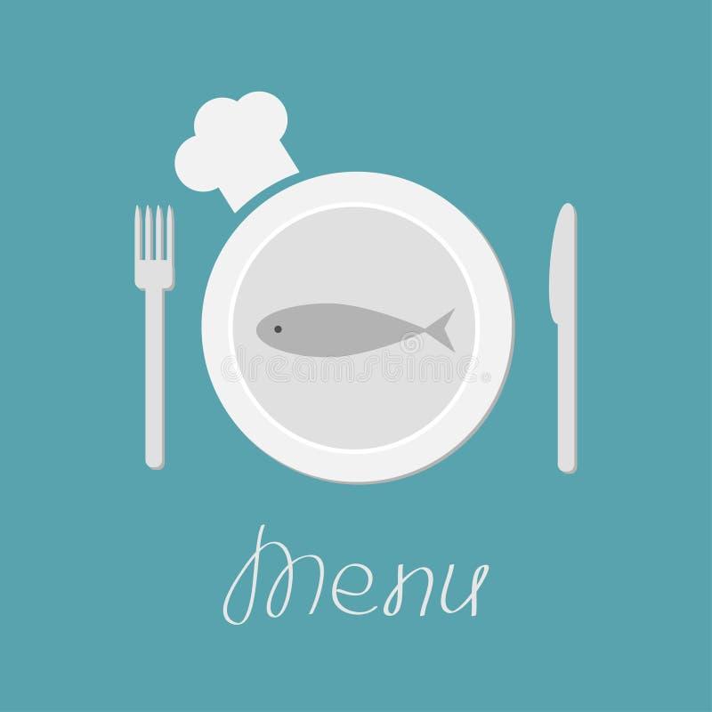 Πιάτο με τα ψάρια, το δίκρανο, το μαχαίρι και το καπέλο αρχιμαγείρων. Κάρτα επιλογών. Επίπεδο desi απεικόνιση αποθεμάτων