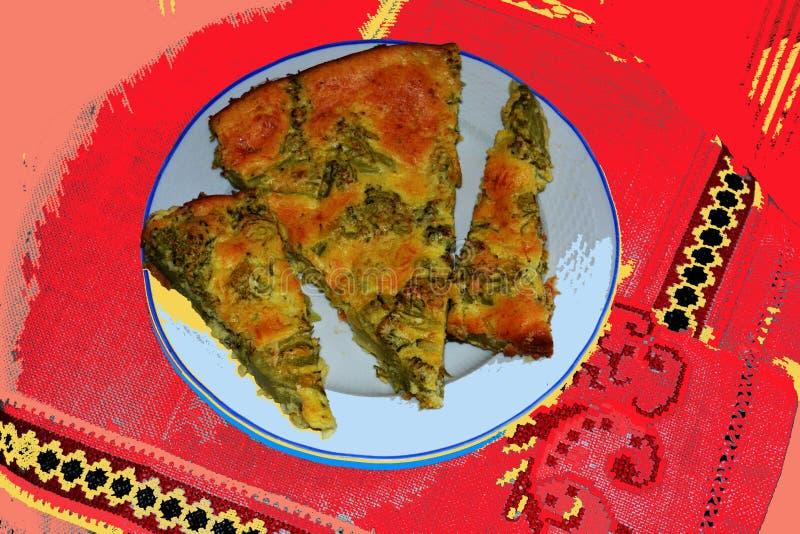 Πιάτο με την πίτα κρέατος σε ένα κόκκινο υπόβαθρο άνοιξη απεικόνιση αποθεμάτων