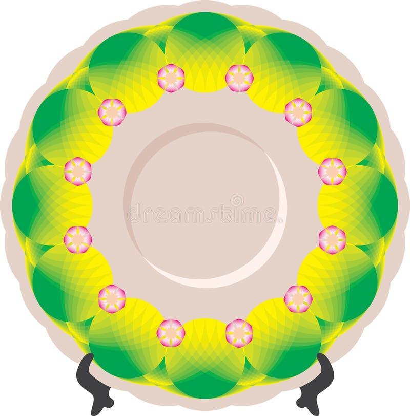 Πιάτο με την πράσινη διακόσμηση στη στάση στοκ φωτογραφίες