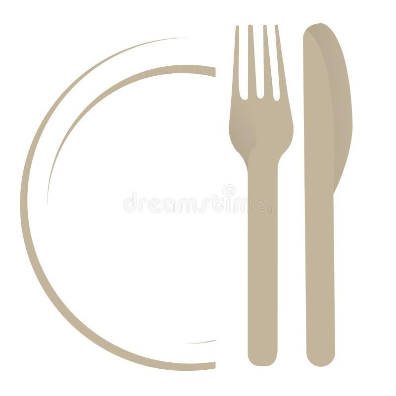 Πιάτο με το δίκρανο ένα μαχαίρι διανυσματική απεικόνιση