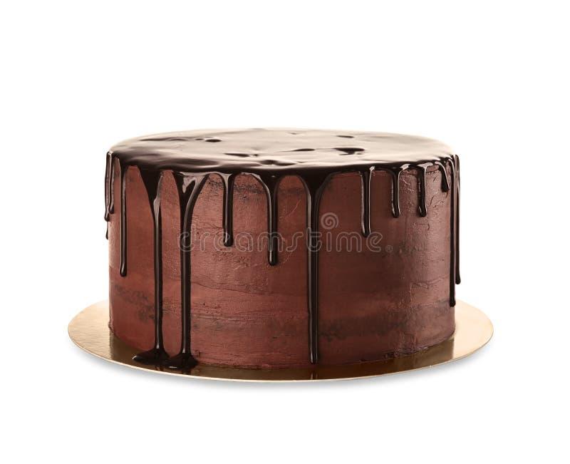 Πιάτο με το εύγευστο κέικ σοκολάτας στο άσπρο υπόβαθρο στοκ φωτογραφία με δικαίωμα ελεύθερης χρήσης