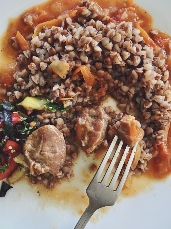 Πιάτο με το κατά το ήμισυφαγωμένο ?αγωμένο φαγόπυρο και μαγειρευμένο κρέας στη φυτική σάλτσα στοκ φωτογραφίες με δικαίωμα ελεύθερης χρήσης
