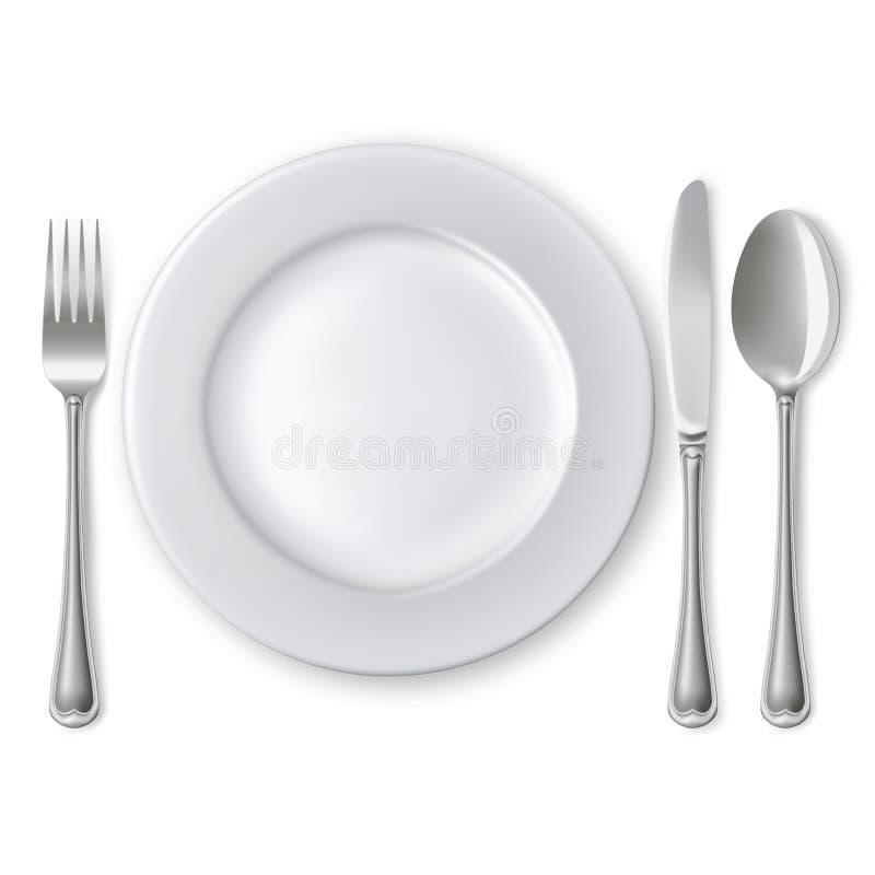 Πιάτο με το κουτάλι, το μαχαίρι και το δίκρανο απεικόνιση αποθεμάτων