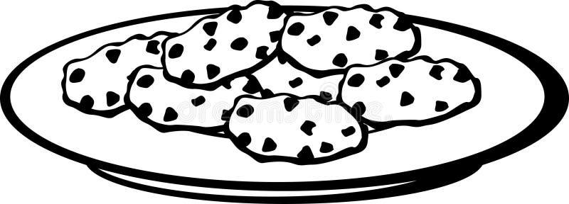 πιάτο μπισκότων σοκολάτας τσιπ απεικόνιση αποθεμάτων