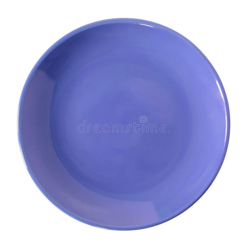 Πιάτο που απομονώνεται μπλε στο λευκό στοκ φωτογραφίες