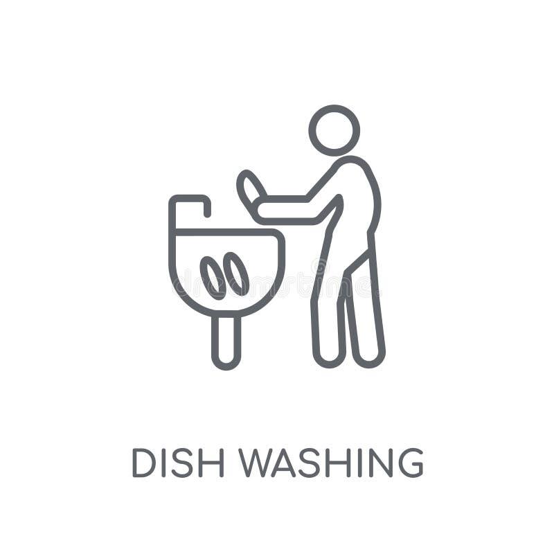 Πιάτο που πλένει το γραμμικό εικονίδιο Σύγχρονο conce λογότυπων πλύσης πιάτων περιλήψεων διανυσματική απεικόνιση