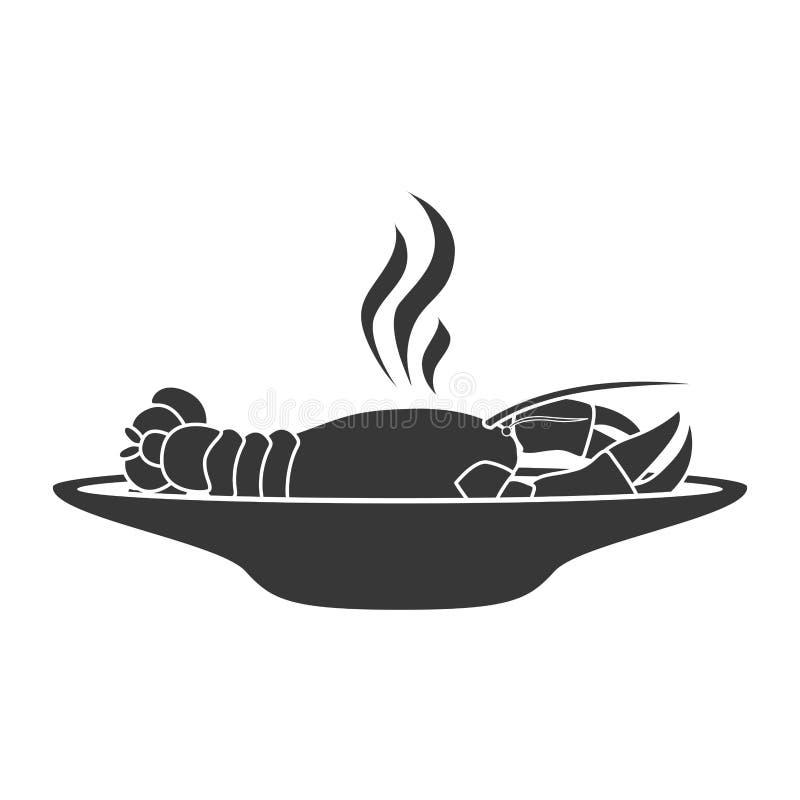 Πιάτο σκιαγραφιών με την καυτή ακρίδα απεικόνιση αποθεμάτων