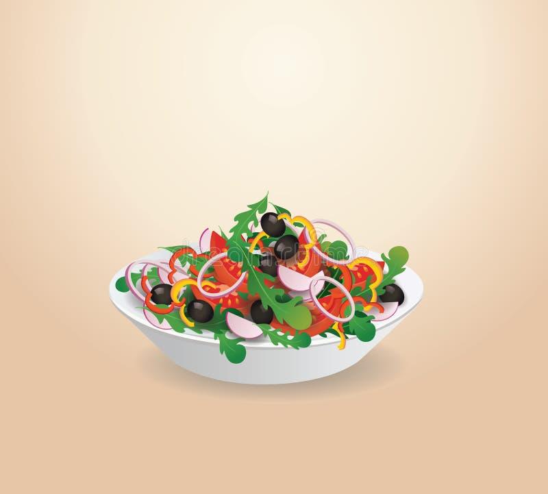 Πιάτο της φυτικής σαλάτας Λαχανικά θερινού μαρουλιού διανυσματική απεικόνιση