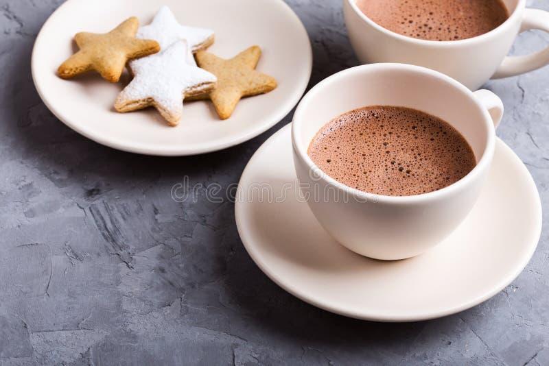 Πιάτο των μπισκότων Χριστουγέννων μορφής αστεριών που ψεκάζονται με την κονιοποιημένα ζάχαρη και τα φλυτζάνια της καυτής σοκολάτα στοκ φωτογραφίες με δικαίωμα ελεύθερης χρήσης