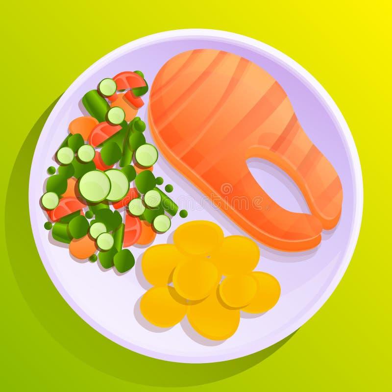 Πιάτο των ψαριών με τις πατάτες και τη φυτική σαλάτα απεικόνιση αποθεμάτων