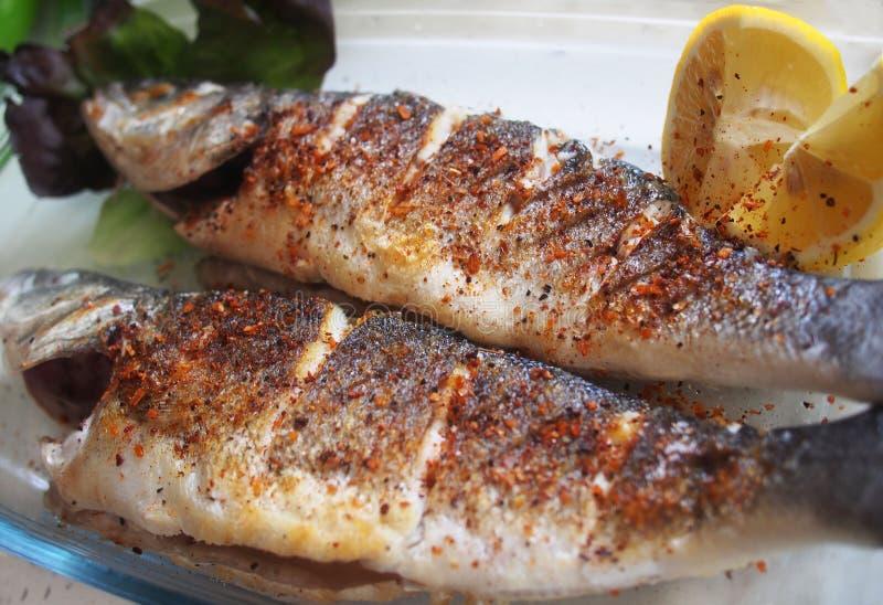 Πιάτο ψαριών - τηγανισμένο seabass με τα λαχανικά Ισπανία στοκ εικόνα με δικαίωμα ελεύθερης χρήσης