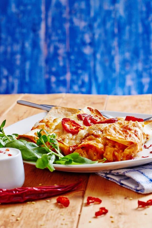 Πιάτο Enchiladas με το κόκκινο - καυτό τσίλι με την ξινή κρέμα στοκ φωτογραφία με δικαίωμα ελεύθερης χρήσης
