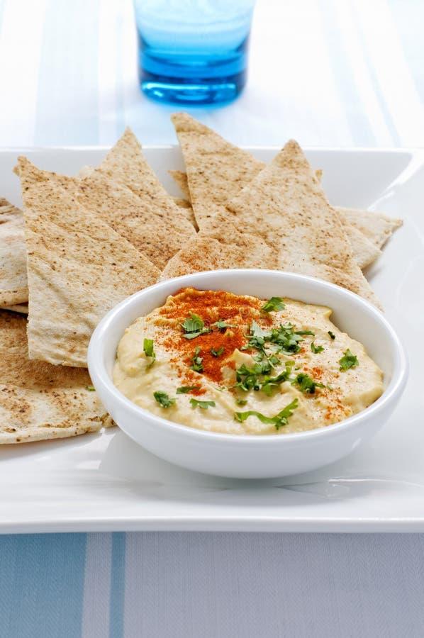 πιάτο pitta hommus στοκ φωτογραφία με δικαίωμα ελεύθερης χρήσης