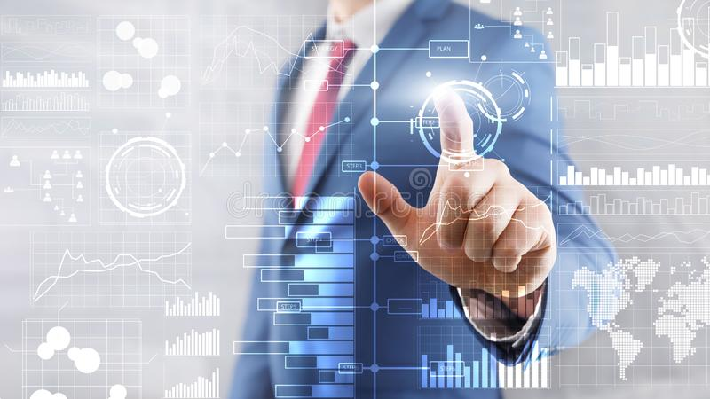 Πιέζει ένα εικονικό κουμπί Επιχειρηματική κατασκοπεία Διάγραμμα, γραφική παράσταση, απόθεμα που κάνει εμπόριο, ταμπλό επένδυσης,  διανυσματική απεικόνιση