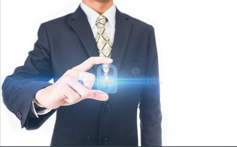 Πιέζοντας κουμπί Διαδίκτυο ασφάλειας επιχειρηματιών και έννοια δικτύωσης στοκ φωτογραφία