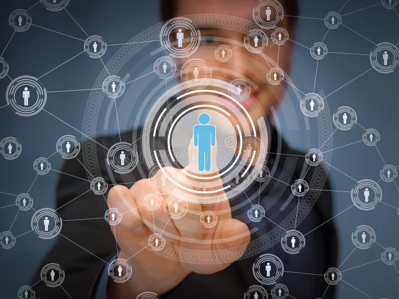 Πιέζοντας κουμπί επιχειρηματιών με την επαφή απεικόνιση αποθεμάτων