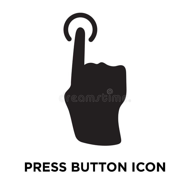 Πιέστε το διάνυσμα εικονιδίων κουμπιών που απομονώνεται στο άσπρο υπόβαθρο, λογότυπο συμπυκνωμένο ελεύθερη απεικόνιση δικαιώματος