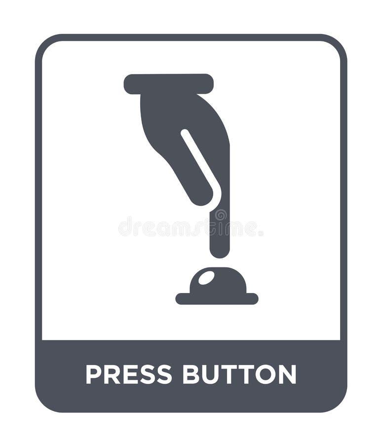 πιέστε το εικονίδιο κουμπιών στο καθιερώνον τη μόδα ύφος σχεδίου πιέστε το εικονίδιο κουμπιών που απομονώνεται στο άσπρο υπόβαθρο διανυσματική απεικόνιση