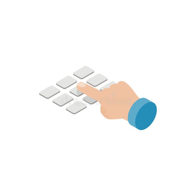 Πιέστε το εικονίδιο πληκτρολογίων του ΕΛΚ του ATM, isometric τρισδιάστατο ύφος απεικόνιση αποθεμάτων