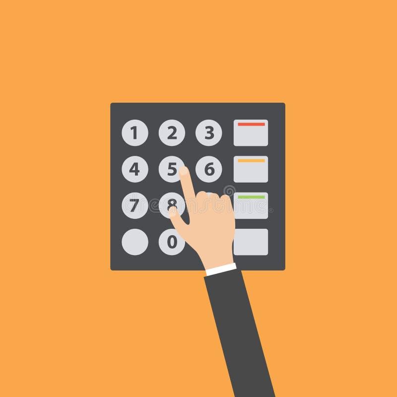 Πιέστε το επίπεδο σχέδιο πληκτρολογίων του ATM απεικόνιση αποθεμάτων