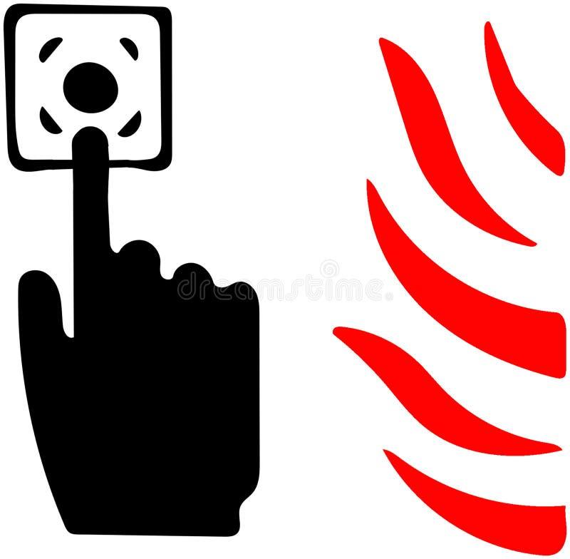 Πιέστε το κουμπί συναγερμών εάν βλέπετε διευκρινισμένο δρόμο εικονιδίων πυρκαγιάς το φλόγα στο άσπρο υπόβαθρο απεικόνιση αποθεμάτων