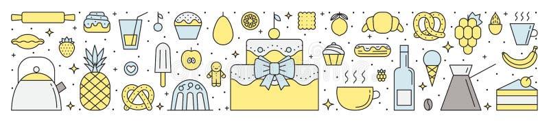 Πιατικά και μαγειρεύοντας (γλυκά, ζύμες) πολύχρωμη οριζόντια απεικόνιση Απλό σχέδιο περιλήψεων Μέρος πρώτο ελεύθερη απεικόνιση δικαιώματος