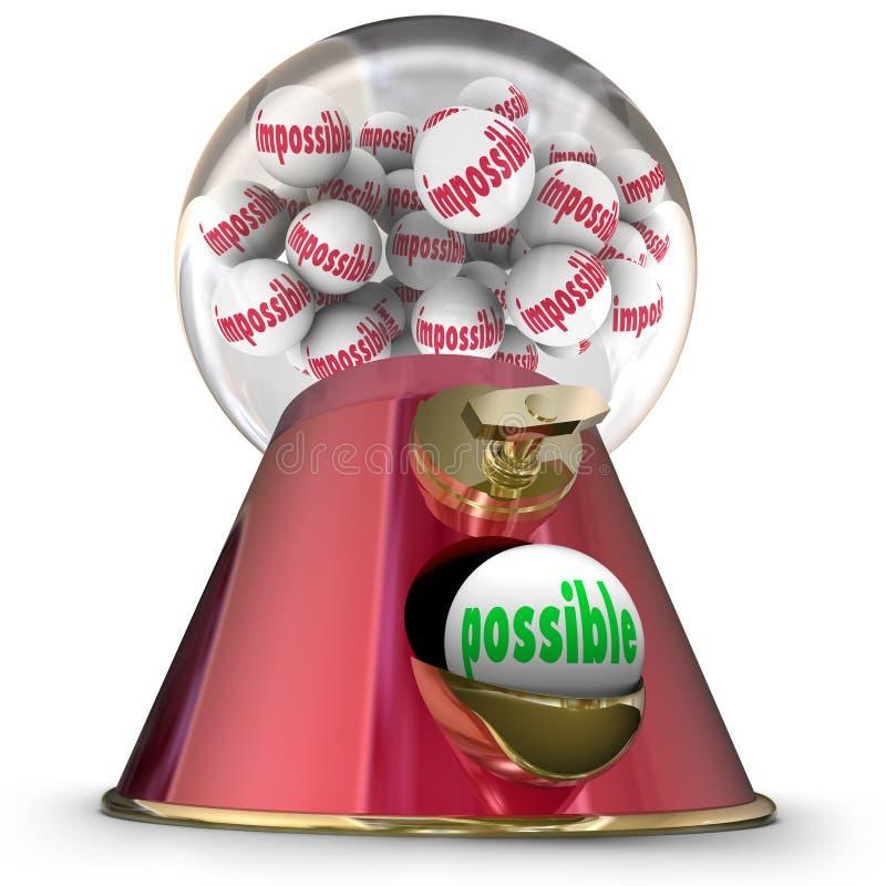 Πιθανός εναντίον της αδύνατης επιτυχίας ελπίδας μηχανών διανομέων Gumball διανυσματική απεικόνιση
