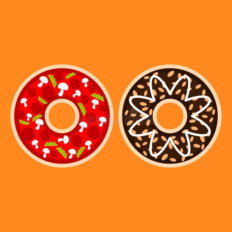 Πικάντικα και γλυκά donuts διανυσματική απεικόνιση