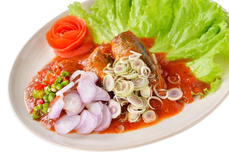 Πικάντικη κονσερβοποιημένη ψάρια σαλάτα σαρδελλών στοκ εικόνες