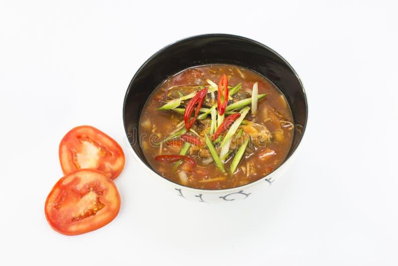 Πικάντικη κονσερβοποιημένη ψάρια σαλάτα σαρδελλών στη σάλτσα ντοματών στοκ εικόνες