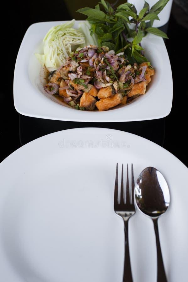 Πικάντικη σαλάτα σολομών στοκ φωτογραφία με δικαίωμα ελεύθερης χρήσης