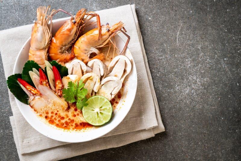 πικάντικη σούπα γαρίδων (Tom Yum Goong στοκ εικόνα με δικαίωμα ελεύθερης χρήσης