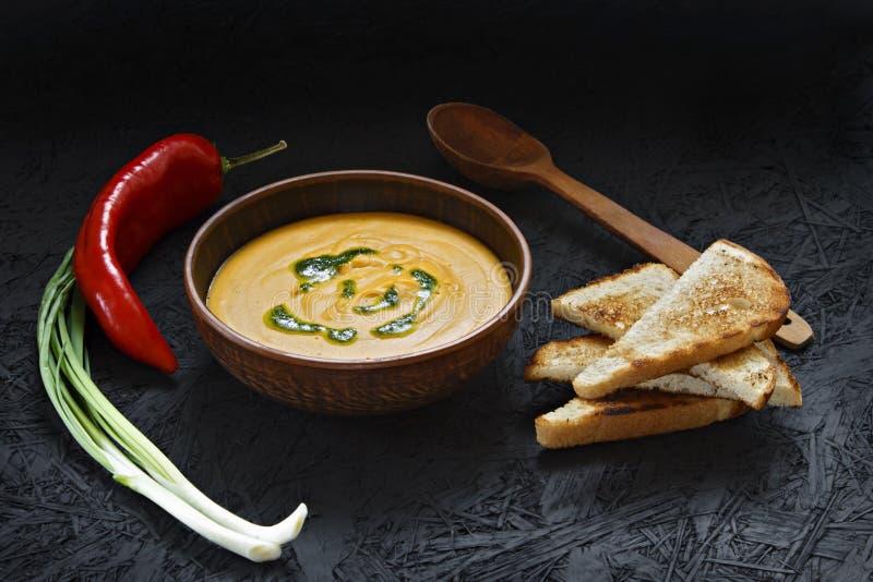 Πικάντικη σούπα κρέμας κολοκύθας με τη φρυγανιά σε ένα πιάτο αργίλου στοκ εικόνες με δικαίωμα ελεύθερης χρήσης