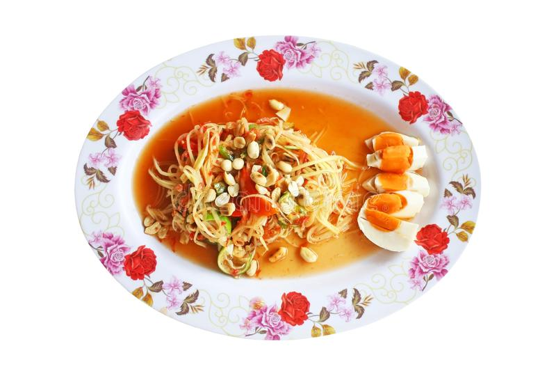 Πικάντικη papaya τοπ άποψης σαλάτα με το αλατισμένο αυγό, ταϊλανδικά τρόφιμα στοκ εικόνες με δικαίωμα ελεύθερης χρήσης
