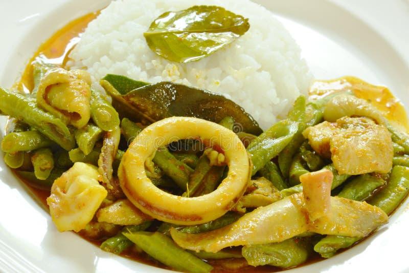 Πικάντικος ανακατώστε το τηγανισμένα καλαμάρι και το κοτόπουλο με το κινεζικό φασόλι ναυπηγείων στο κάρρυ στο ρύζι στοκ φωτογραφίες με δικαίωμα ελεύθερης χρήσης
