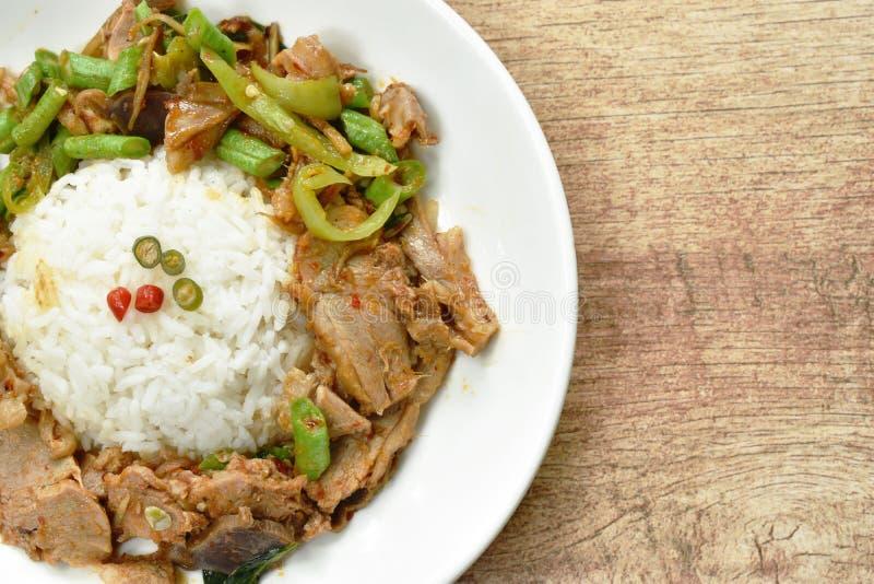 Πικάντικος ανακατώστε το τηγανισμένο κάρρυ κρέατος παπιών στο ρύζι στο πιάτο στοκ φωτογραφία με δικαίωμα ελεύθερης χρήσης