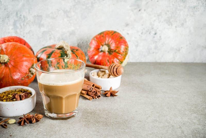 Πικάντικος καφές κολοκύθας latte στοκ εικόνα