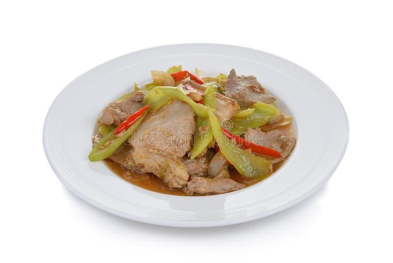 Πικάντικο τηγανισμένο χοιρινό κρέας με τα τσίλι στοκ φωτογραφία με δικαίωμα ελεύθερης χρήσης